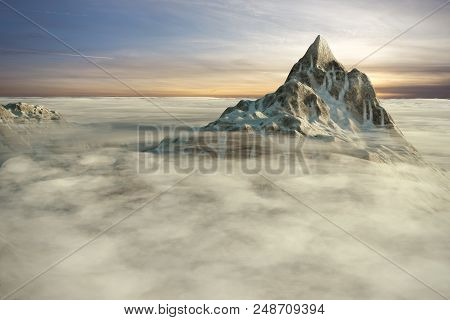 Peaks Of High Mountains Above The Clouds By The Sunset. 3d Render Illustration.