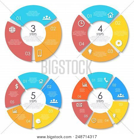 Business Concept Of Circle Infographic Template With 3, 4, 5, 6 Options For Graph, Presentation And