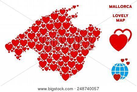 Romantic Spain Mallorca Island Map Collage Of Red Hearts. We Like Spain Mallorca Island Map Concept.