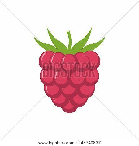 Raspberry With Leaf Vector Icon. Raspberry Icon Clipart. Raspberry Cartoon.