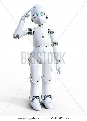 3d Rendering Of A White Friendly Cartoon Robot Thinking About Something. White Background.