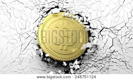 Cryptocurrency breakthrough concept. Bitcoin breaking with great force through a white wall. 3d illustration
