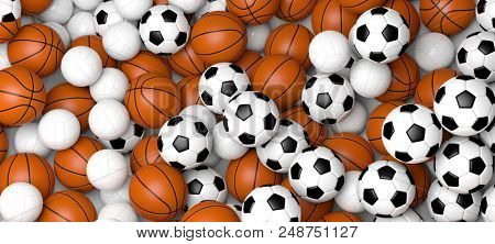 Basketball, volleyball and soccer balls, banner. 3d illustration.