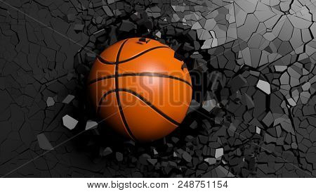Basketball ball breaking with great force through a black wall. 3d illustration.