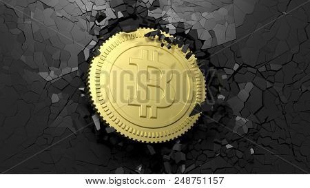 Cryptocurrency breakthrough concept. Bitcoin breaking with great force through a black wall. 3d illustration
