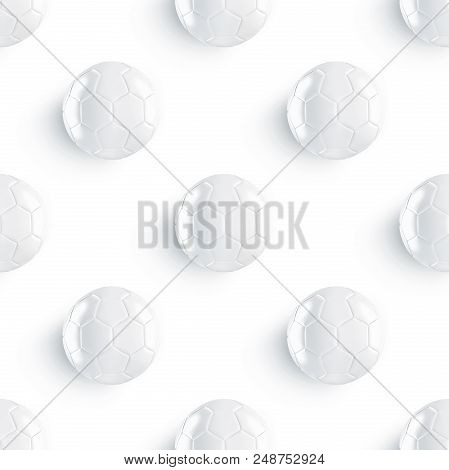 Blank white soccer ball mockup seamless pattern, 3d rendering. Clear tileable football sphere patern mock up. Clear gloss sport bal for playing on the clean field template poster