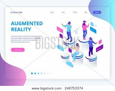 Isometric Virtual Reality, Augmented Reality Concept. Men And Woman Wearing Virtual Reality Glasses.