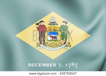 3d Flag Of Delaware State, Usa. 3d Illustration.