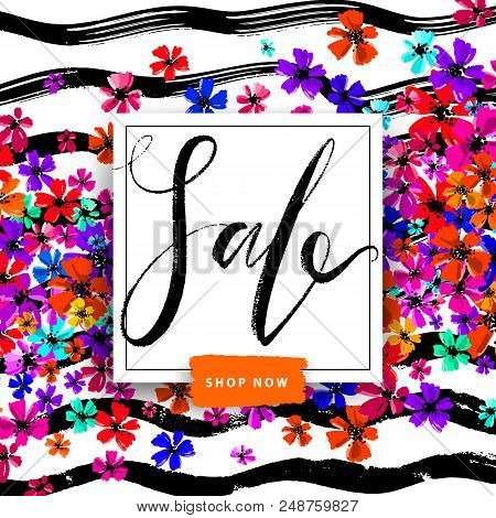 Sale Summer Poster With Hand Drawn Colorful Flowers On Stripy Background. Advertisement Banner With