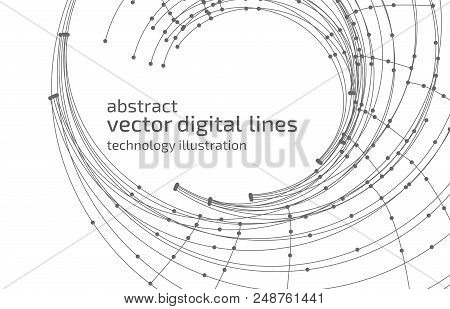Vector Abstract Background. Modern Technology Illustration With Mesh. Digital Geometric Abstraction