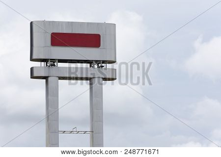 Billboard Blank Outdoor On Sky Background.blank Silver With Red