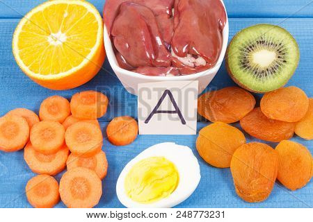 Fresh food containing vitamin A, dietary fiber and natural minerals, concept of healthy nutritious eating poster