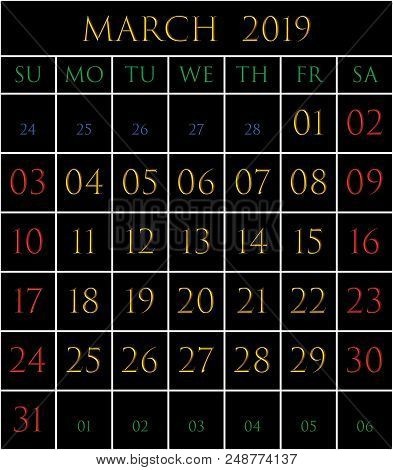 2019 Calendar For The Month Of March On Black Background Rectangles Bordered With White