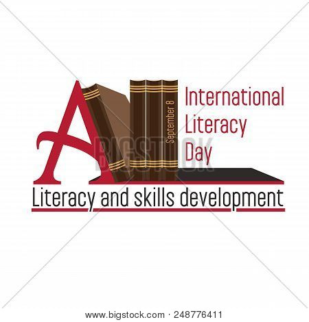 Vector Illustration Of A Book For International Literacy Day. Bookshelf With Books On A White Backgr