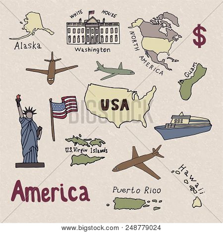 Map Of The United States Of America And The Symbols Of America. North America, Alaska, Usa, Hawaii,