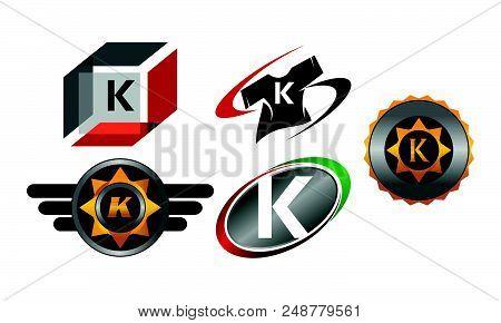 Logotype K Modern Set Design Template Vector