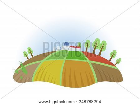 Farm Field With Trees And Houses, Fisheye View. Farming, Ecotourism, Kibbutz. Colorful Flat Vector I