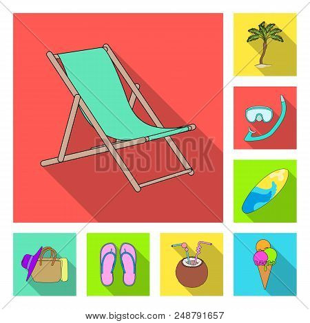 Summer Rest Flat Icons In Set Collection For Design. Beach Accessory Vector Symbol Stock  Illustrati