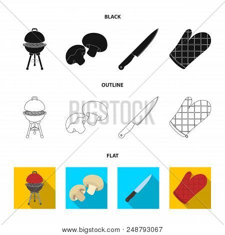 Barbeque Grill, Champignons, Knife, Barbecue Mitten.bbq Set Collection Icons In Black, Flat, Outline