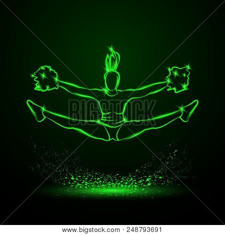 Cheerleader Jumps And Doing Splits With Pom Poms. Green Neon Cheerleading Illustration For Sporting