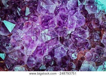 Bright Violet Texture From Natural Amethyst Top View