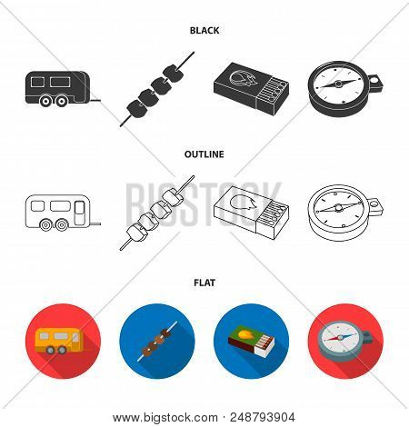 Trailer, Shish Kebab, Matches, Compass. Camping Set Collection Icons In Black, Flat, Outline Style V