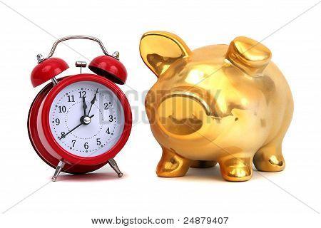 Alarm Bell And Golden Piggy Bank