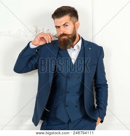 Handsome Bearded Businessman In Classic Suit. Men's Beauty, Fashion. Man In Tuxedo. Sexy Male, Bruta