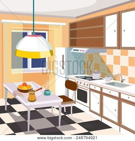 Cartoon Illustration Of A Retro Kitchen Interior With Kitchen Cabinets, A Dining Table With A Cup Of