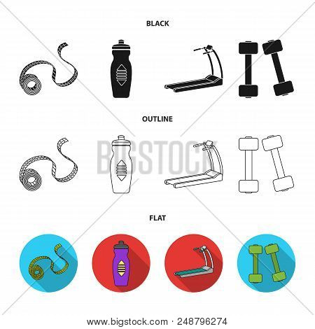 Measuring Tape, Water Bottle, Treadmill, Dumbbells. Fitnes Set Collection Icons In Black, Flat, Outl