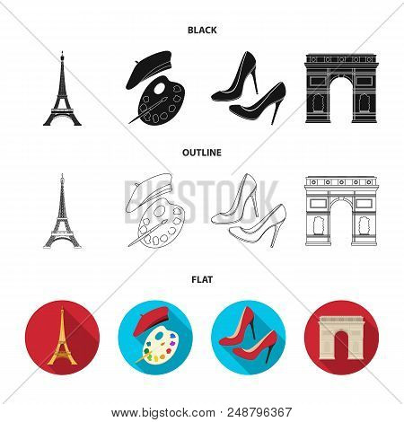 Eiffel Tower, Brush, Hat .france Country Set Collection Icons In Black, Flat, Outline Style Vector S