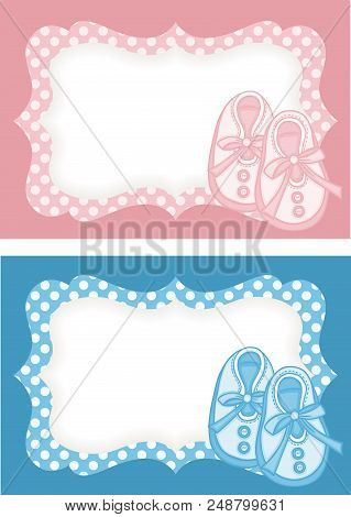 Scalable Vectorial Representing A Pink And Blue Baby Shoes Label, Illustration For Your Design.