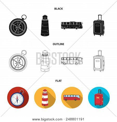 Vacation, Travel, Lighthouse, Compass .rest And Travel Set Collection Icons In Black, Flat, Outline
