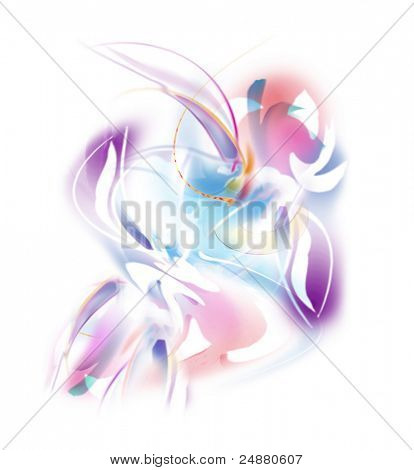 Flowers In Pink And Purple - Abstract Illustration