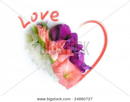 Love Greeting Card - St Valentines Day - Flowers And A Heart