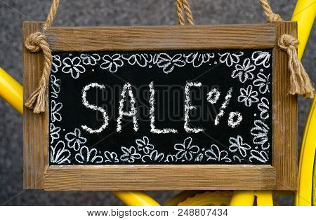 Wooden Board With Word Sale Written With Chalk, Signboard. Symbol Of Information, Business, Marketin