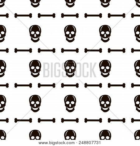Seamless Pattern With Black Skulls And Bones On The White Background. Vector Illustration