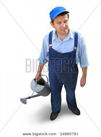 Gardener - worker in working clothes, holding watering can