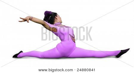 Circus girl with purple tights on shpagat. Isolated. Path.