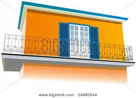 House - rural, provencal, southern architecture. Vector Illustration