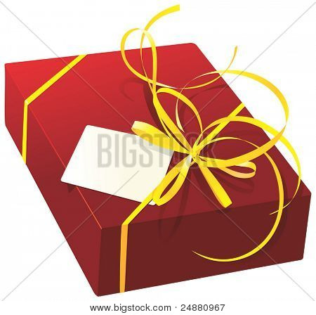 Present, yellow ribbon,card, for St. Valentine's day. Vector Illustration