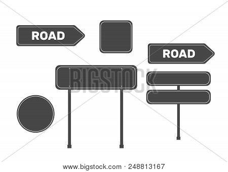 Highway Traffic Green Signs. Board Vector. Sign Street. Road Green Vector Sign. Arrow Blank Sign