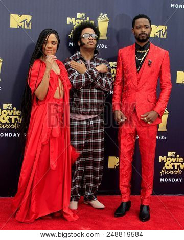 LOS ANGELES - JUN 16:  Tessa Thompson, Boots Riley, Lakeith Stanfield at the 2018 MTV Movie And TV Awards at the Barker Hanger on June 16, 2018 in Santa Monica, CA