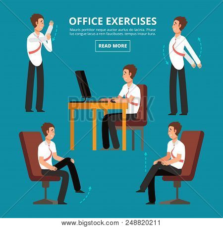 Office Exercises At Desk. Diagram For Health Employees Vector Illustration. Office Health Exercise W