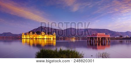 The Palace Jal Mahal (water Palace) Was Built During The 18th Century In The Middle Of Man Sager Lak