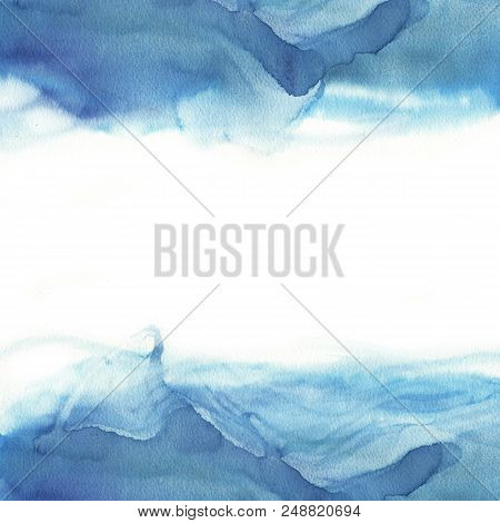 Abstract Blue Watercolor Wave On White Background. The Color Splashing In The Paper. It Is A Hand Dr