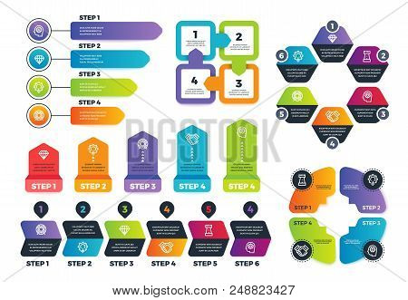 Process Infographics. Business Infographic Elements, Strategy Map And Chars For Finance Presentation