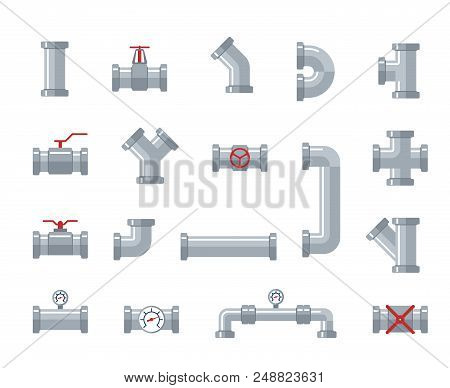 Pipe Steel And Plastic Connectors, Water Tubes. Plumbing, Pipeline Parts And Valves, Industrial Drai
