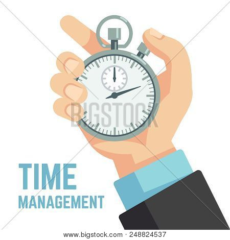 Businessman Hand Holding Stopwatch Or Clock. Deadline, Punctuality And Time Management Business Vect