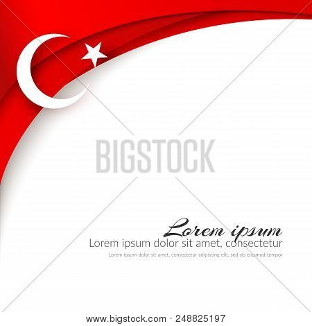 A Moon With A Star On A Background Of Wavy Curved Red Ribbons Lines Brochure With The Theme Of The T